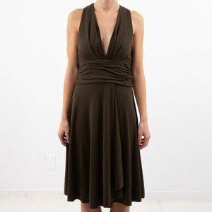 Vintage XS BEST Party Dress Halter Midi Brown